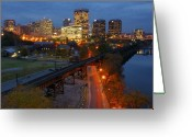Train Track Greeting Cards - Richmond Lights Greeting Card by Sean Cupp