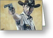 Walking Greeting Cards - Rick Grimes Greeting Card by Tom Carlton