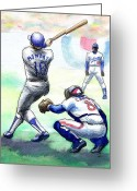 Baseball Drawings Greeting Cards - Rick Monday Greeting Card by Mel Thompson