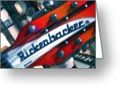 Rock And Roll Glass Greeting Cards - Rickenbocker Greeting Card by Sergio Geraldes