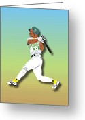 Male Athletes Greeting Cards - Ricky Henderson Greeting Card by Walter Neal