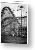 Wooden Coaster Greeting Cards - Ride at Your Own Risk Greeting Card by John Rizzuto