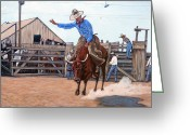Great Painting Greeting Cards - Ride em Cowboy Greeting Card by Tom Roderick