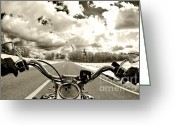 Biker Greeting Cards - Ride Free Greeting Card by Micah May