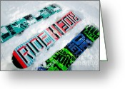 Winter Sports Photo Greeting Cards - RIDE IN POWDER snowboard graphics in the snow Greeting Card by Andy Smy