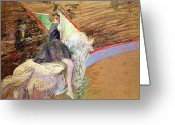 Side Saddle Greeting Cards - Rider on a White Horse Greeting Card by Henri de Toulouse Lautrec