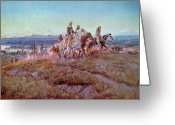 Usa Painting Greeting Cards - Riders of the Open Range Greeting Card by Charles Marion Russell