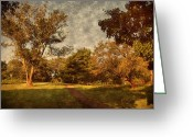 Layered Textures Greeting Cards - Ridge Walk - Holmdel Park Greeting Card by Angie McKenzie