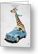 Giraffe Greeting Cards - Riding High Greeting Card by Rob Snow