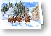 Quarter Horses Greeting Cards - Riding home for Christmas Greeting Card by Jana Goode