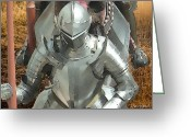 Jousting Greeting Cards - Riding Knights Greeting Card by Russ Harris