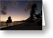 Dominican Greeting Cards - Riding on the Beach Greeting Card by Adam Romanowicz
