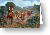 Rancher Greeting Cards - Riding Point Greeting Card by Randy Follis