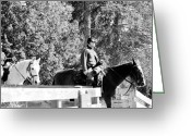 Confederates Greeting Cards - Riding Soldiers B and W ii Greeting Card by LeeAnn McLaneGoetz McLaneGoetzStudioLLCcom