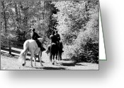 Confederates Greeting Cards - Riding Soldiers B and W Greeting Card by LeeAnn McLaneGoetz McLaneGoetzStudioLLCcom