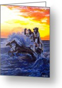 Greek Sculpture Greeting Cards - Riding the Wave Greeting Card by Indigo Jax
