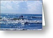 Beach Pastels Greeting Cards - Riding the waves Greeting Card by Evelyn Patrick