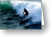 William And Magdalena Green Greeting Cards - Riding The Waves Greeting Card by Magdalena Green