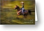 Quarter Horses Greeting Cards - Riding Thru The Meadow Greeting Card by Susan Candelario
