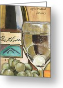 Wine Bottle Greeting Cards - Riesling Greeting Card by Debbie DeWitt