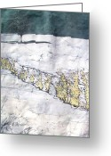 Fine Art Batik Tapestries - Textiles Greeting Cards - Righteous Path Greeting Card by Kristine Allphin Brakenhoff