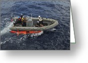 Tying Greeting Cards - Rigid-hull Inflatable Boat Operators Greeting Card by Stocktrek Images
