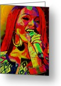 Earring Greeting Cards - Rihanna 2 Greeting Card by Byron Fli Walker