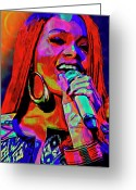 Earring Greeting Cards - Rihanna  Greeting Card by Byron Fli Walker