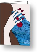 Hand Drawings Greeting Cards - Ring finger Greeting Card by Frank Tschakert
