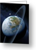 Extrasolar Planet Greeting Cards - Ringed Earth-like Planet, Artwork Greeting Card by Detlev Van Ravenswaay