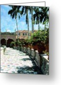 Sarasota Mixed Media Greeting Cards - Ringling Estate Greeting Card by Florene Welebny