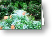 Sarasota Mixed Media Greeting Cards - Ringling Rose Garden Greeting Card by Florene Welebny