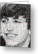 The Beatles Mixed Media Greeting Cards - Ringo Starr Beatles Mosaic Greeting Card by Paul Van Scott