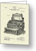 Antique Artwork Greeting Cards - Ringold Cash Register 1904 Patent Art Greeting Card by Prior Art Design