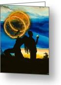 Fire Dance Painting Greeting Cards - Rings of Fire Greeting Card by Daniel MacGregor