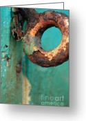 Turquoise And Brown Greeting Cards - Rings of Rust and Blue Greeting Card by AdSpice Studios