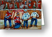 Hockey Stars Greeting Cards - Rink Hockey Montreal Street Scenes Greeting Card by Carole Spandau