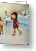 Skates Greeting Cards - Rink Greeting Card by Monica Blatton