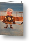 Hockey Winter Classic Greeting Cards - RinkRattz - Jonny - Boston  Greeting Card by Ron  Genest