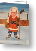 Minor Hockey Greeting Cards - RinkRattz - Bruiser The Bully - Print Greeting Card by Ron  Genest
