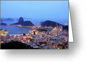 Dusk Greeting Cards - Rio De Janeiro, Beautiful City Greeting Card by ©Ricardo Barbieri