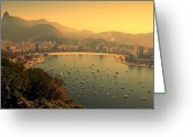 Nautical Vessel Greeting Cards - Rio De Janeiro Cityscape Greeting Card by Renata Souza e Souza