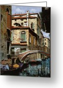 Boat Greeting Cards - Rio Degli Squeri Greeting Card by Guido Borelli