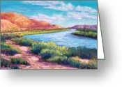 River Pastels Greeting Cards - Rio Grande from the South Greeting Card by Candy Mayer