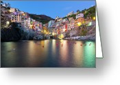 Travel Destinations Greeting Cards - Riomaggiore After Sunset Greeting Card by Sebastian Wasek