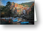 Trips Greeting Cards - Riomaggiore Boats Greeting Card by Inge Johnsson