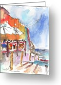 Italy Drawings Greeting Cards - Riomaggiore in Italy 03 Greeting Card by Miki De Goodaboom