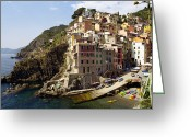 Sea Kayak Greeting Cards - Riomaggiore, Italian Riviera Greeting Card by Peter Phipp
