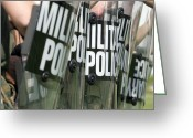 Military Police Greeting Cards - Riot Control Formation Greeting Card by Stocktrek Images