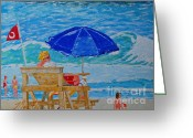Illustrative Greeting Cards - Rip Current Warinings Greeting Card by Ralph Mantia Sr